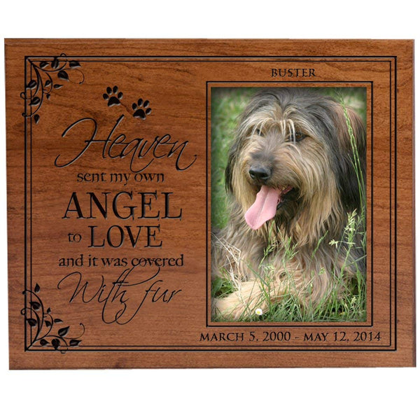 Personalized Pet Memorial Picture Frame with Paw Prints Custom Made Sympathy Pet Picture Frame Holds 4x6 Photo Heaven Sent My Own Angel to Love and It Was Covered in Fur By LifeSong Milestones