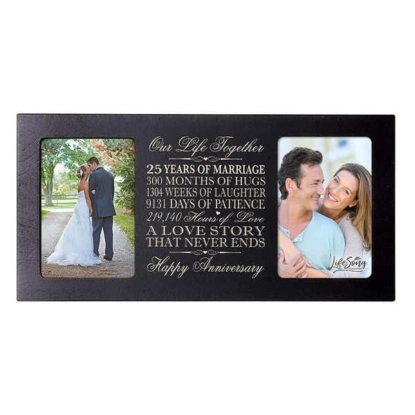 LifeSong Milestones 25th Wedding Anniversary Picture frame Gift with anniversary dates holds 2 4x6 photos