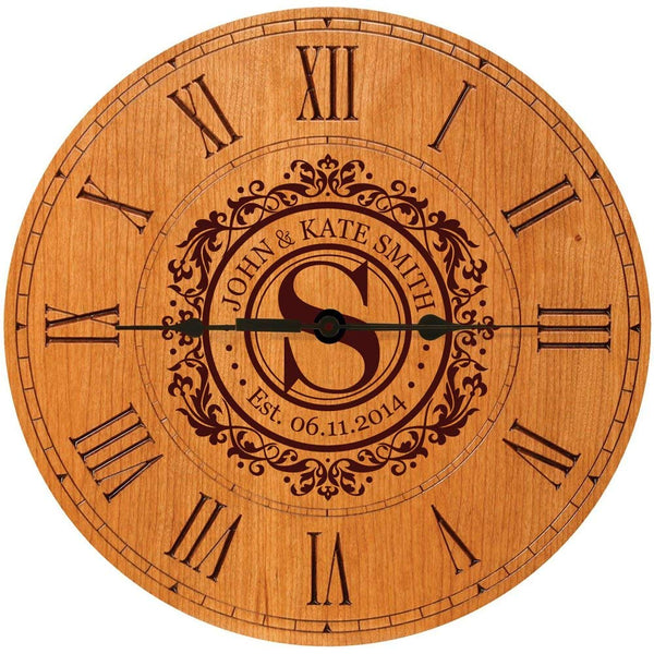 "Wedding Clock or Anniversary Clock, wedding gift, anniversary gift, housewarming gift "" Monogram, Initial clock"