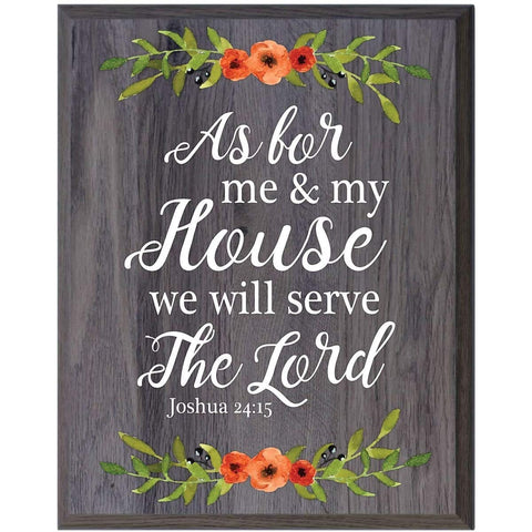 plaque sign board inspirational christian serve the Lord Joshua 24:15 Grey