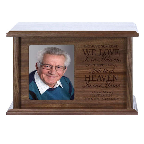 Cremation Urn for Human Ashes Made of Solid Wood Laser Engraved Verse Because Someone We Love By LifeSong Milestones