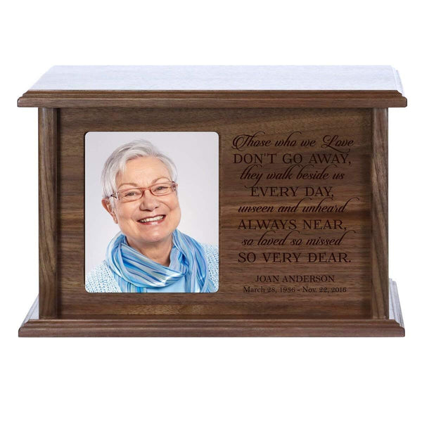 Cremation Urn for Human Ashes Made of Solid X Wood Laser Engraved Verse Those Who We Love Don't Go Away By LifeSong Milestones