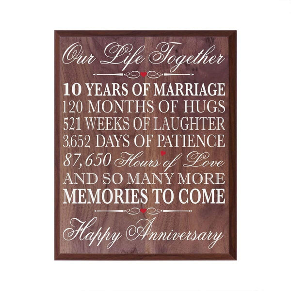 Walnut 10th Wedding Anniversary Wall Plaque - Our Life Together