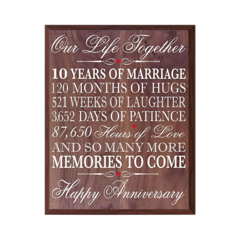 LifeSong Milestones 10th Wedding Anniversary Wall Plaque Gifts for Couple, 10th Anniversary Gifts for Her,10th Wedding Anniversary Gifts for Him 12 Inches Wide X 15 Inches Plaque By (Walnut)
