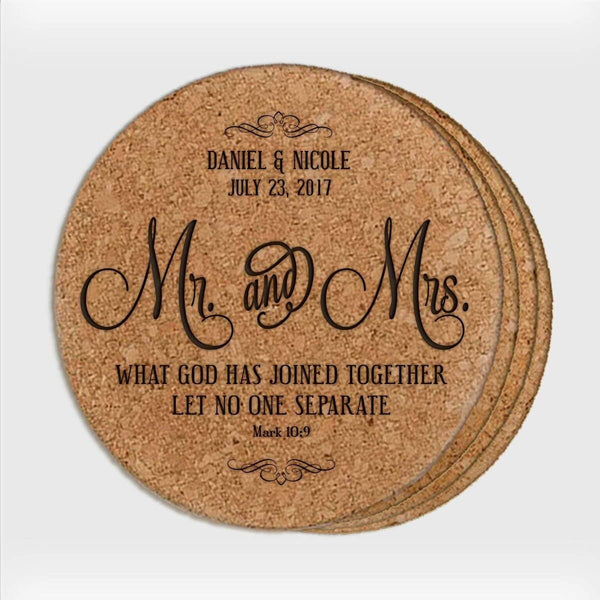 Personalized Wedding Cork 4pc Coaster Set - Mr. & Mrs.