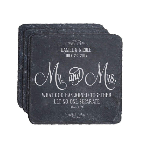 Personalized Anniversary 4 Pc Coaster Set - Mr. & Mrs..