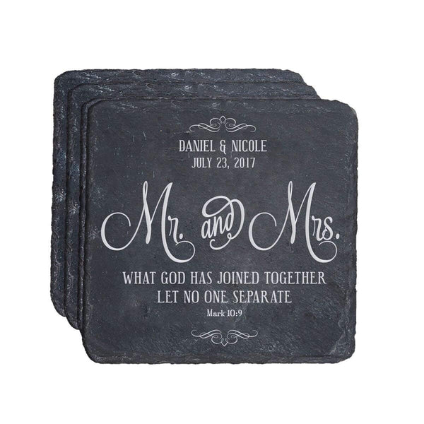 Personalized Mr & Mrs square slate Gift for Parents Anniversary or Bride and Groom Absorbent and Reusable 4 inch square by LifeSong Milestones