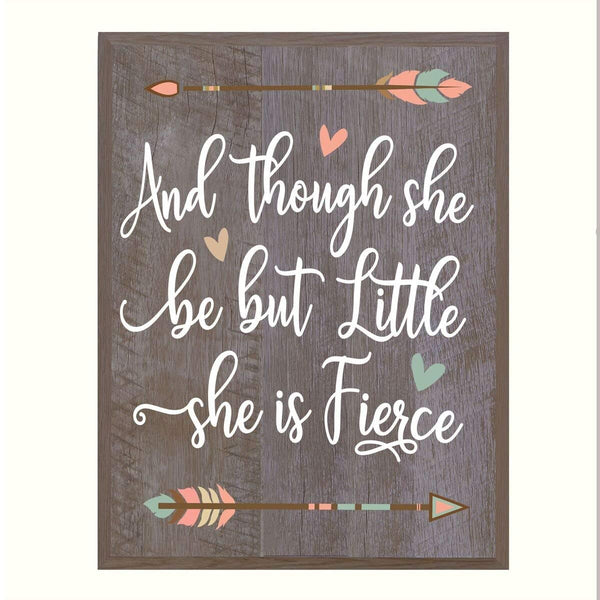 LifeSong Milestones And Though She Be but Little She is Fierce Family wedding anniversary Housewarming Gift New Home Christian gift ideas 12 Inches w X 15 Inches By