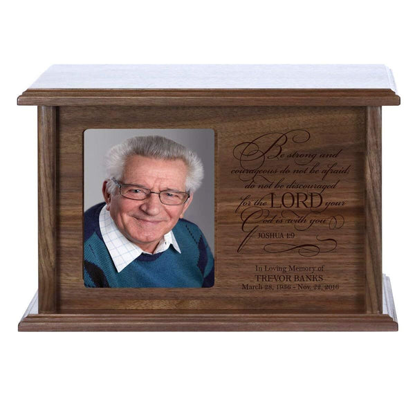 Personalized Memorial Photo Frame Urn Box - Be Strong And Courageous