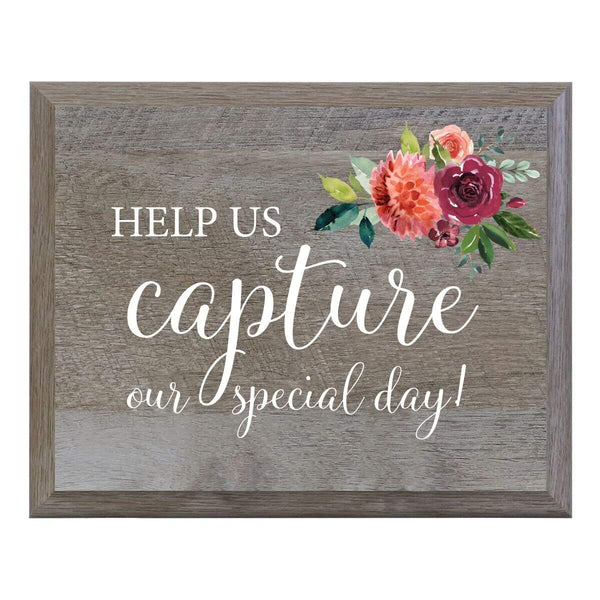 Barn Wood Wedding Party Sign Plaque - Help Us Capture Our Special Day