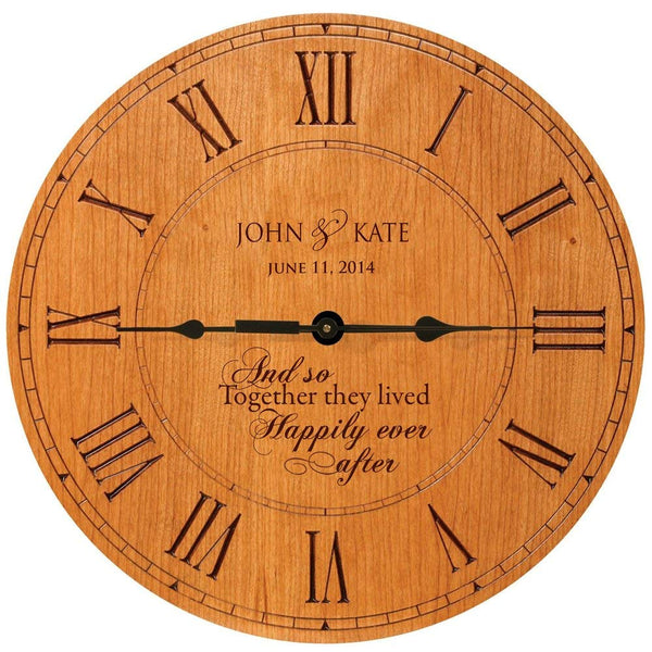 "Wedding Clock or Anniversary Clock "" And so Together they lived Happily ever after"""