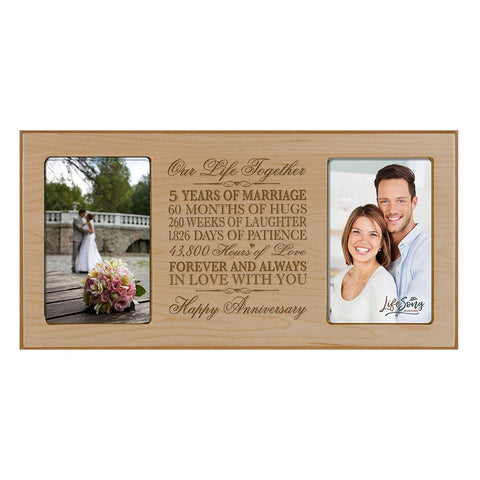 LifeSong Milestones 5th Wedding Anniversary Picture frame Gift with anniversary dates holds 2 4x6 photos