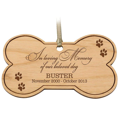 pet memory memorial ornament paw print dog bone sad