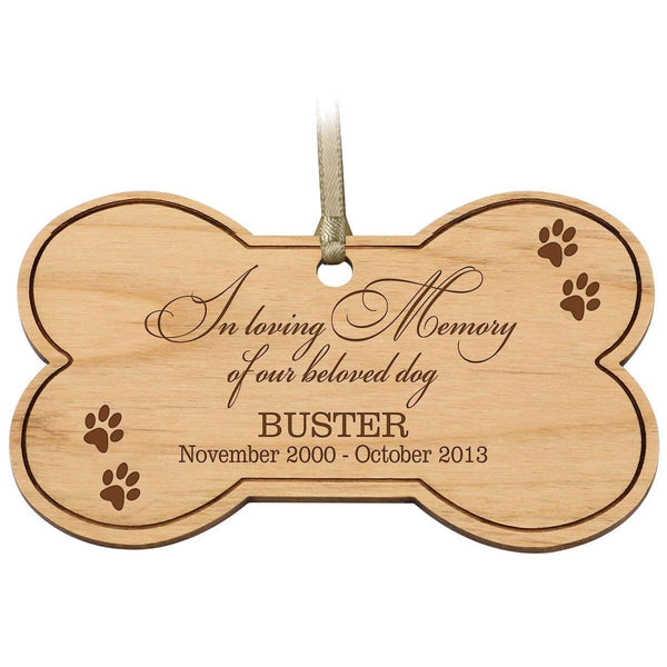 LifeSong Milestones Personalized Pet Memorial dog Ornament Custom Engraved Christmas Sympathy gift for Pets Remembrance for loss of dogs In loving Memory dog bone keepsake Gifts by