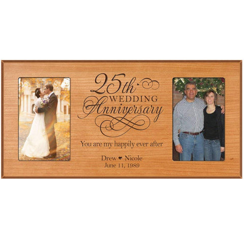 25th Anniversary Gift Personalized 25th wedding anniversary picture frame Celebrating Our 25th wedding anniversary with Couples names and anniversary dates (Black)