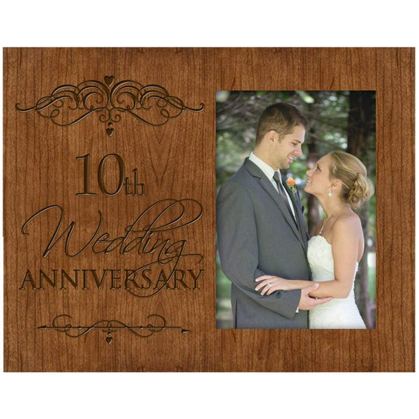 10th Wedding Anniversary Photo Frame Holds 4x6 Photo Cherry Wood