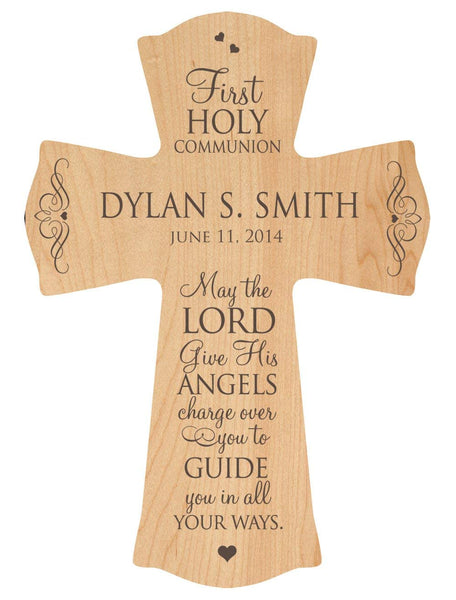 "First Communion Blessing Wood Cross - Personalized ""May the Lord Give His Angels Charge"""
