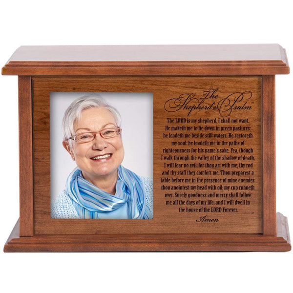 Personalized Cremation Urn for Humans Holds 4x5 Photo Verse the Shepherds Psalm