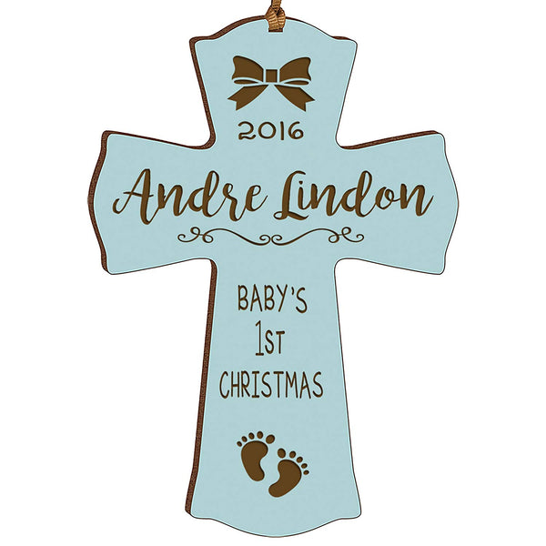Personalized Baby's First Christmas Ornament cross New Parent gift ideas for newborn boys and girls Custom engraved ornament for mom dad and grandparents (Blue Baby's first Christmas)