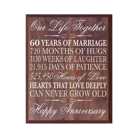 Digitally Printed 60th Anniversary Wall Decor Plaque - Our Life Walnut
