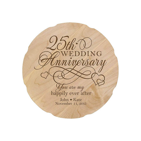 Personalized Wedding Anniversary Engraved Maple Platter 25th Anniversary
