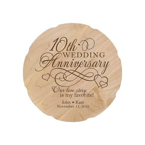 Personalized Wedding Anniversary Engraved Maple Platter 10th Anniversary