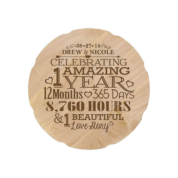 "Personalized Wedding Anniversary Design Dates Platter Gift for Couple, Custom Happy Anniversary Gifts for Her 12"" D Custom Engraved for Husband or Wife USA Made"