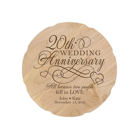 Personalized Wedding Anniversary Engraved Maple Platter 20th Anniversary