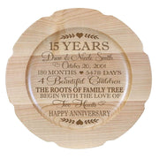 Personalized 15th Anniversary Maple Engraved Plates Dates