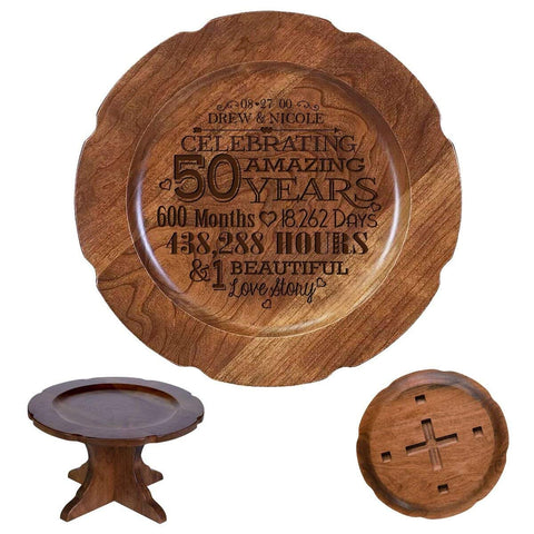 Personalized 50th Wedding Anniversary Cherry Plates Dates