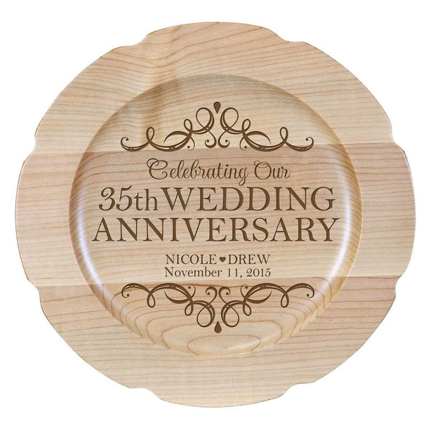 Personalized 35th Anniversary Maple Engraved Plates