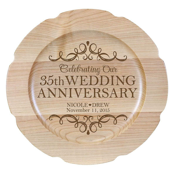 Personalized 35th Anniversary Maple Engraved Plates Design 1