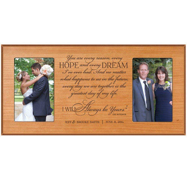 LifeSong Milestones Wedding Gift Photo Frame Personalized for Bride and Groom promise holds 2 4x6 photos Proudly made in the USA