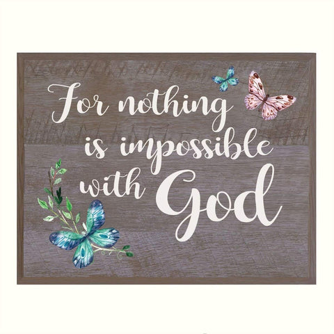 Digitally Printed Inspirational Wall Plaque - For Nothing Is Impossible Barnwood