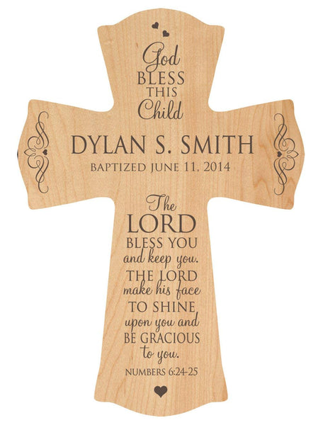 "Baptism or Christening Cross - Personalized ""The Lord Bless You and Keep You"""