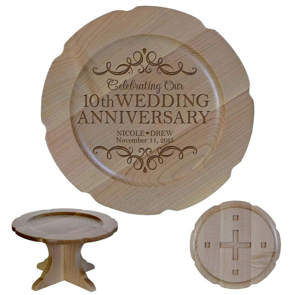"Personalized 10th Wedding Anniversary Maple Cake Stand Gift for Her, Happy 10 Year Anniversary for Him 10"" Custom Engraved for Husband or Wife by LifeSong Milestones"