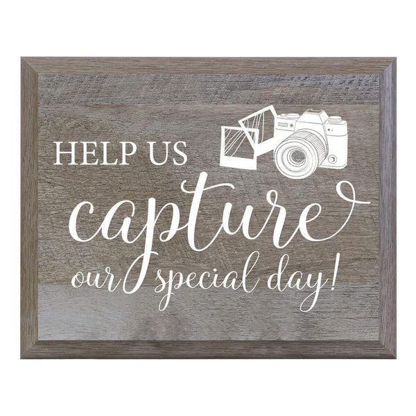 Help Us Capture Our Special Day Decorative Wedding Party sign (6x8)