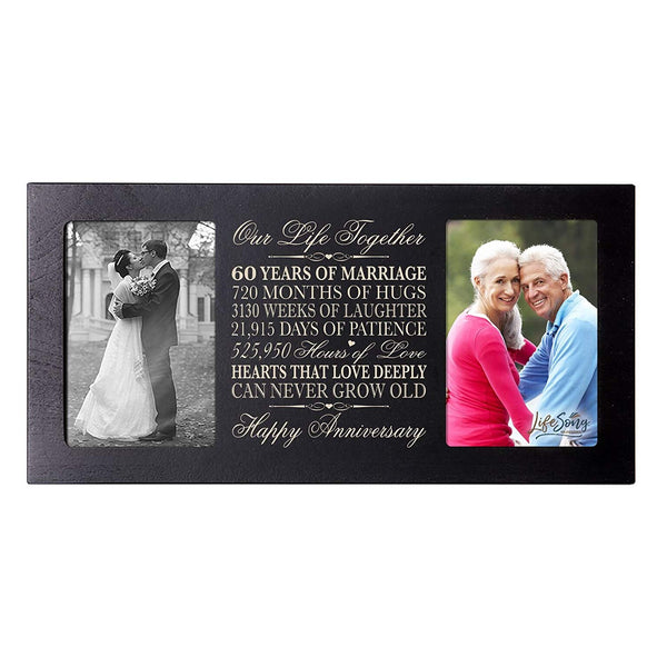 60 year anniversary marriage wood wooden frame holds 2 4x6
