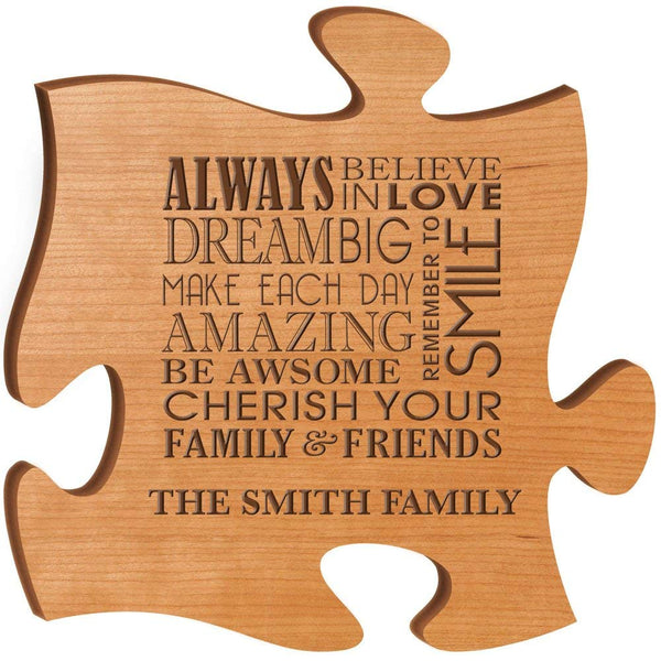 Personalized Custom Engraved Puzzle Sign - Always Believe In Love Dream Big