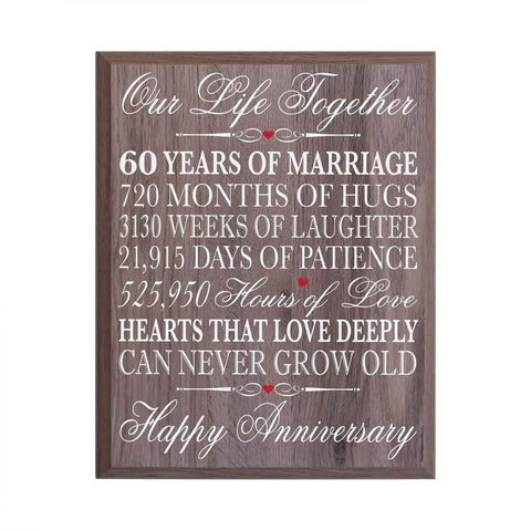 Digitally Printed 60th Anniversary Wall Decor Plaque - Our Life Barnwood