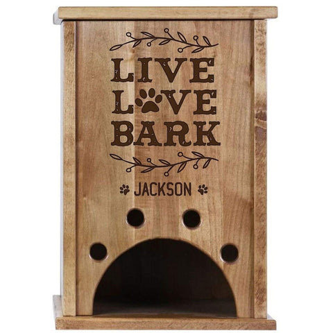 Personalized Pine Pet Toy Box - Live Love Bark Cherry