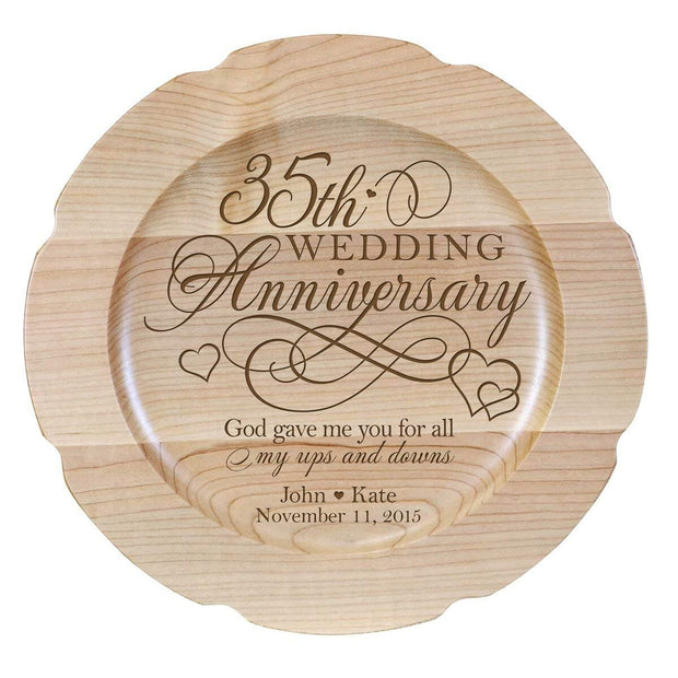Personalized 35th Anniversary Maple Engraved Plates Design 2