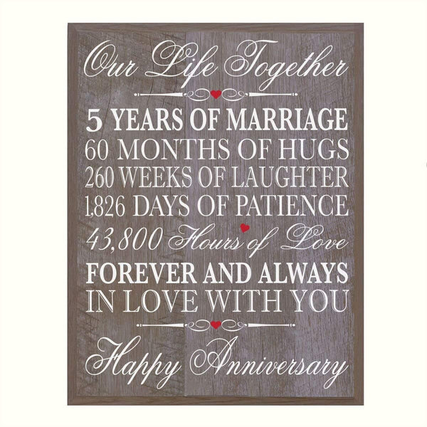 "5th Wedding Anniversary Wall Plaque Gifts for Couple, 5th Anniversary Gifts for Her,5th Wedding Anniversary Gifts for Him 12 W X 15"" H Wall Plaque By LifeSong Milestones"