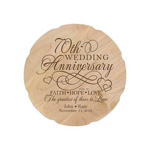 Personalized Wedding Anniversary Engraved Maple Platter 70th Anniversary