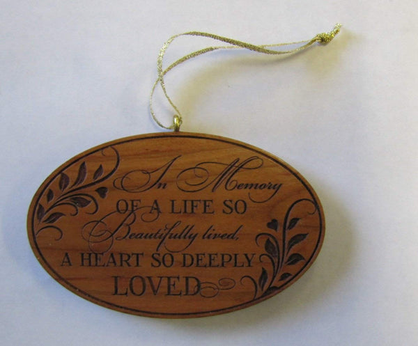 Memorial Ornament A Life Beautifully Lived A Heart So Deeply Engraved Sympathy gift ideas