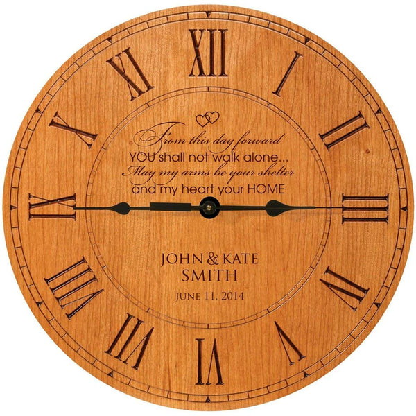 "Wedding Clock or Anniversary Clock, wedding gift, anniversary gift, housewarming gift "" From this day forward YOU shall not walk alone.. May my arms be your shelter and my heart your home """