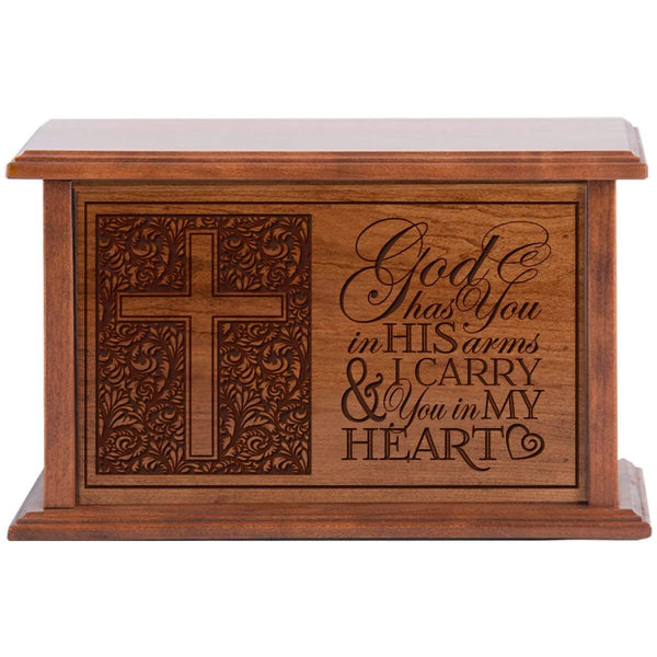 Cremation Urn for Human Ashes Made of Solid Cherry Wood Laser Engraved Verse god has you in His arms By LifeSong Milestones