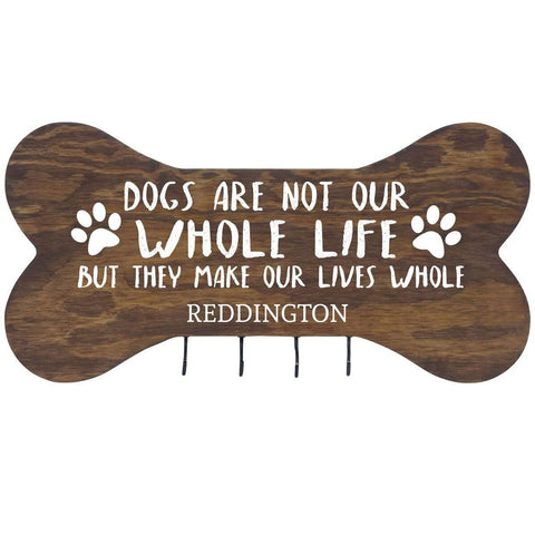 Personalized Dog Bone Sign With Hooks - Dogs Are Not Walnut