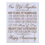 Digitally Printed 60th Anniversary Wall Decor Plaque - Our Life Distressed White