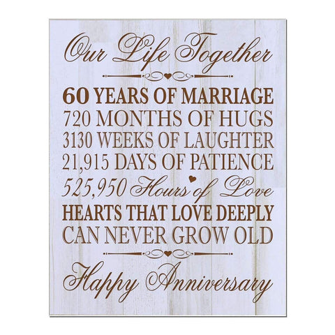 "60th Wedding Anniversary Wall Plaque Gifts for Couple, 60th Anniversary Gifts for Her,60th Wedding Anniversary Gifts for Him 12"" W X 15"" H Wall Plaque By LifeSong Milestones"